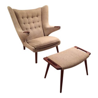 Mid-Century Modern Hans J. Wegner Papa Bear Lounge Chair & Ottoman - 2 Pieces For Sale