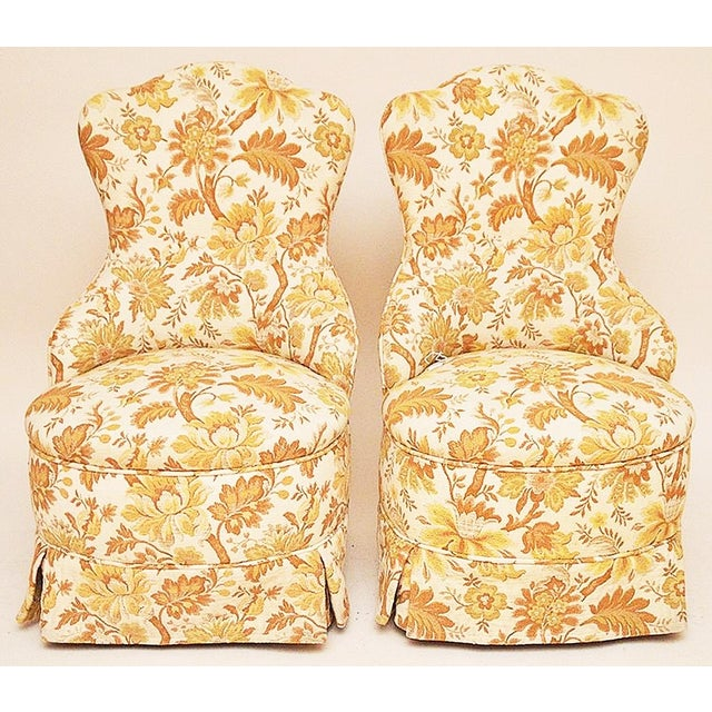 Brocade Slipper Chairs - A Pair - Image 2 of 6