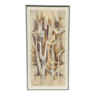 "1950s ""Tree Forms in Gray"" Mid-Century Modern Abstract Oil and Encaustic Painting, Framed For Sale"
