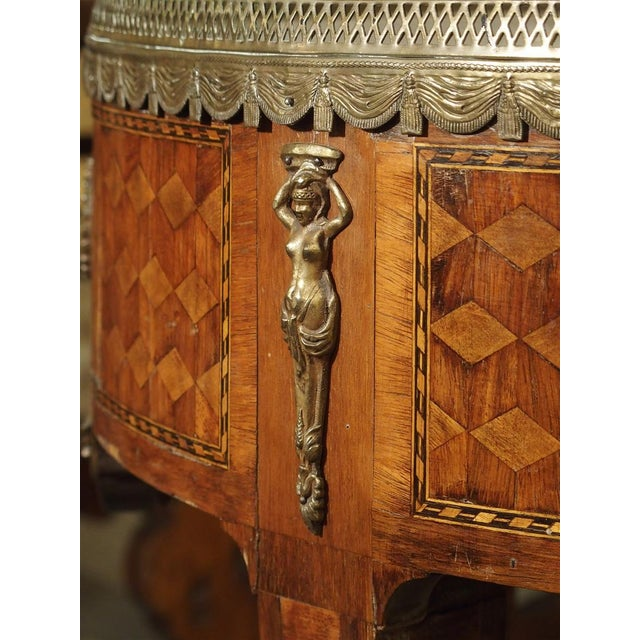 White 19th Century French 4-Drawer Marble Top Bouillote Table For Sale - Image 8 of 13