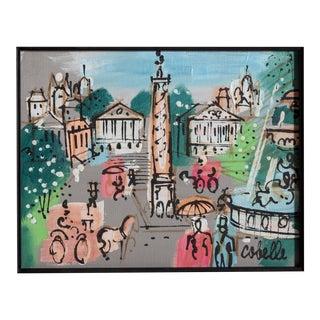 """Charles Cobelle, """"Place Vendôme With Fountain, Paris"""", Cityscape Painting For Sale"""