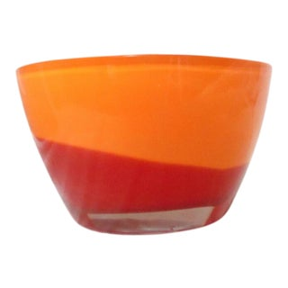 Waterford Accents Amber & Red Oval Bowl or Pocket Vase For Sale