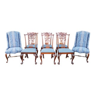 Set 8 Ethan Allen 18th Century Classics Mahogany Chippendale Style Dining Room Chairs 22-6540-252 For Sale