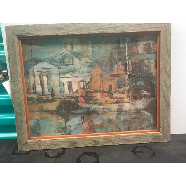 """A Mid century acrylic painting on board of a boat scene. Artist signed., """"Emily Spencer."""" Actual window of artwork: 15.5""""..."""