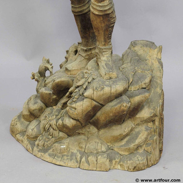 A Large Unfinished Black Forest Poacher With Ibex Carving For Sale - Image 9 of 12