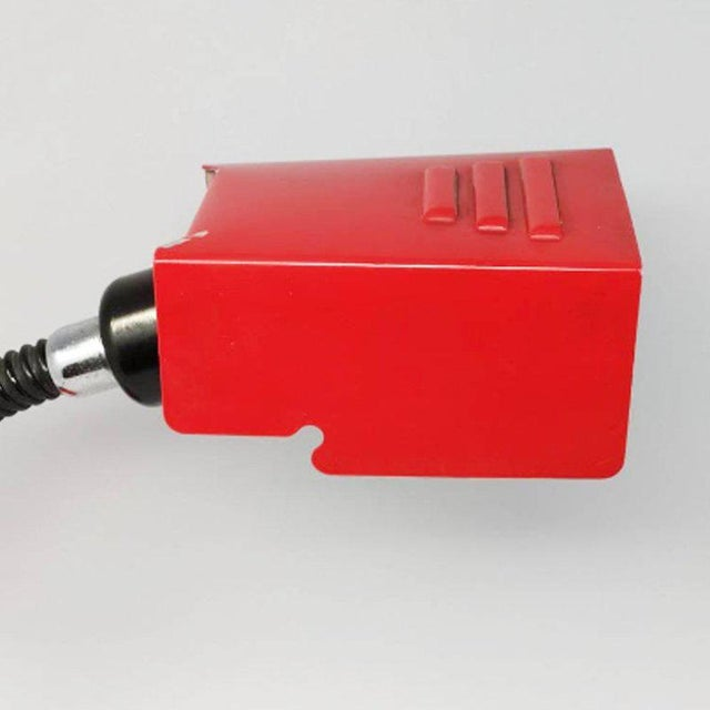 Mid-Century Modern Vintage 1970s Italian Red Table Lamp by Veneta Lumi For Sale - Image 3 of 6