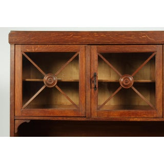 1940s French Mission-Style Oak Buffet With Regency Glass Doors Preview