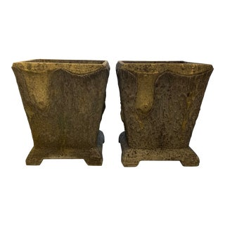 20th Century French Faux Bois Planters - a Pair For Sale