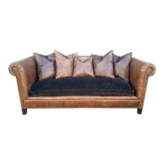 Ralph Lauren Leather Brompton Sofa For Sale