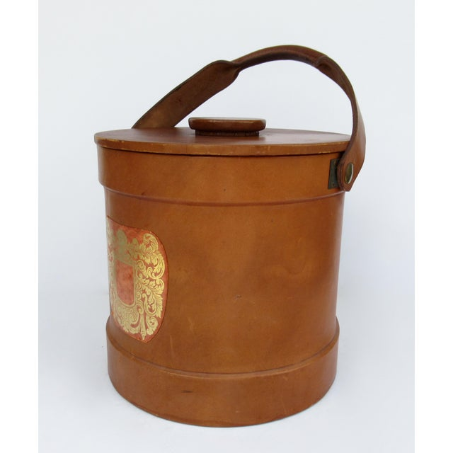 Mid-Century Modern Vintage Italian Ralph Lauren-Style Tooled Saddle Leather Oversized Traveling Cooler, Wine Holder And/Or Ice Bucket For Sale - Image 3 of 13
