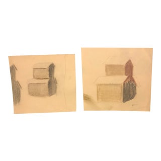 Pair of Modernist Drawings of Barns, 1950s For Sale