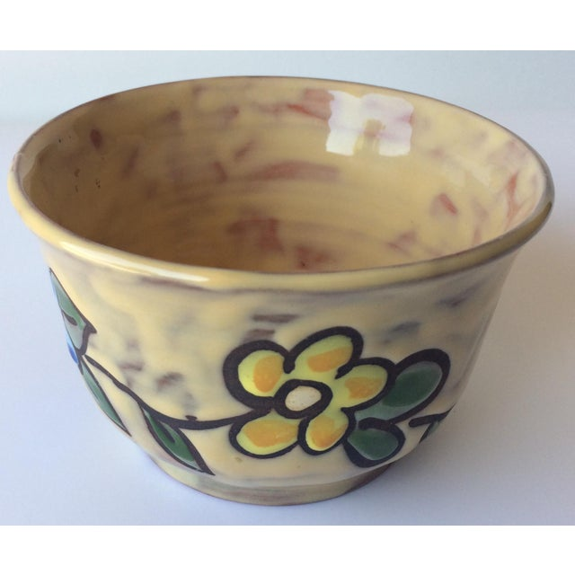 French Midcentury Floral Designed Ceramic Bowl Signed Miclay For Sale - Image 3 of 7