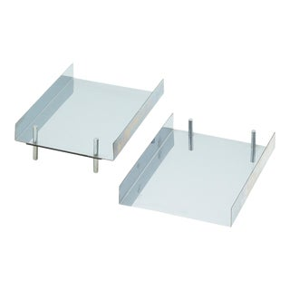 Pair of Vintage Chrome Letter Trays For Sale