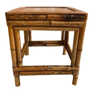 Burnt Bamboo Tortoise Side Table, Plant Stand For Sale