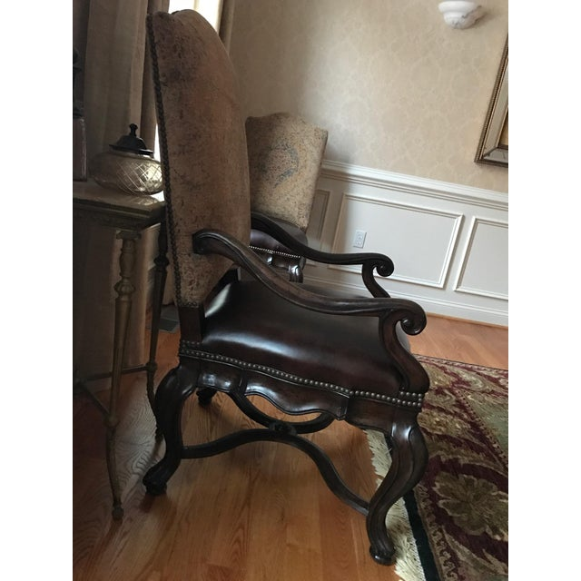 Animal Skin Thomasville Bibbiano Trestle Dining Table and Upholstered Chairs For Sale - Image 7 of 8