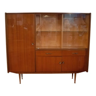 1950s Mid Century Modern Lacquer Veneer Wall Hutch For Sale