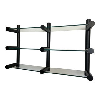 1970s Bauhaus Pace Collection Minimal Glass Wall Mounted Shelving Unit For Sale