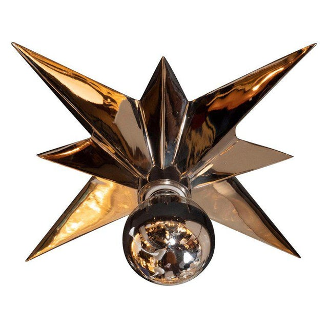 Contemporary Mid-Century Modern Polished Nickel Star Flush Mounts - Set of 4 For Sale - Image 3 of 10