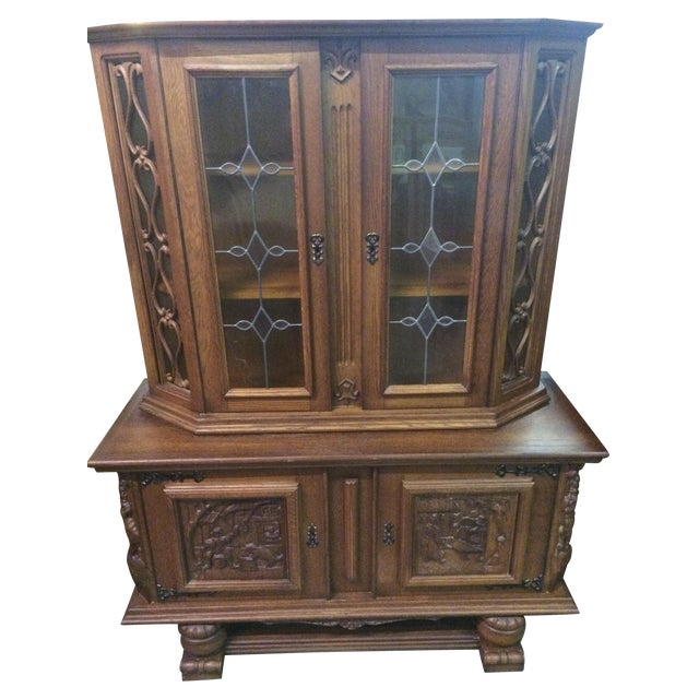 Austrian Hand-Carved Antique China Cabinet - Image 1 of 8