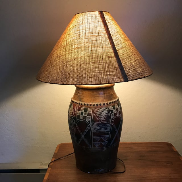 Red Vintage Casual Lamps of California Table Lamp For Sale - Image 8 of 8