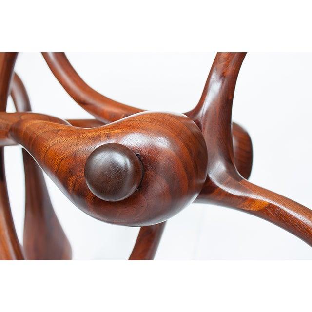 Vintage Studio Sculptural Carved Walnut Bar Cart - Image 9 of 10