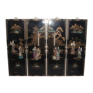 "Chinese ""Courtesans in the Garden"" Wall Hangings/Panels (Four) For Sale"