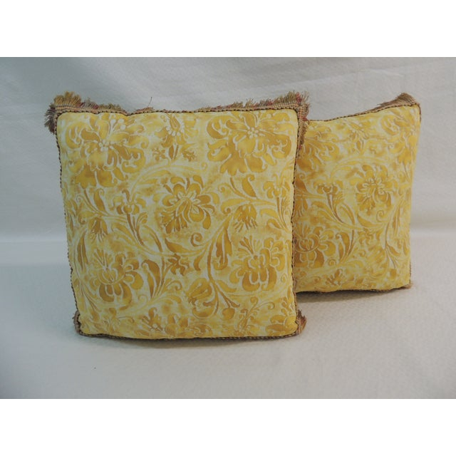 Fortuny Yellow & White Petite Pillows - A Pair - Image 2 of 4