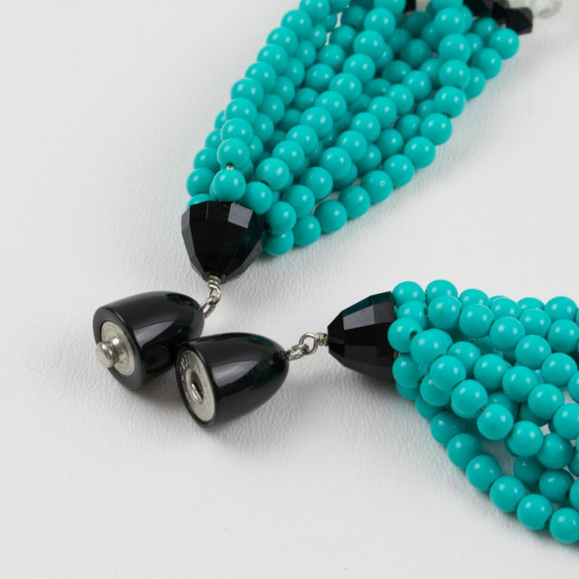 Angela Caputi Turquoise and Black Resin Necklace with Oversized Flower For Sale - Image 12 of 13