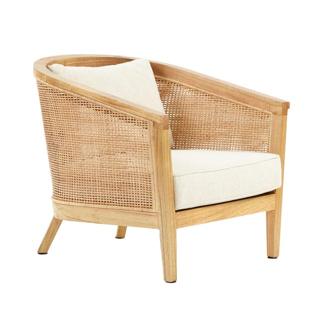 Valencia Club Chair, Beige, Rattan For Sale - Image 4 of 4