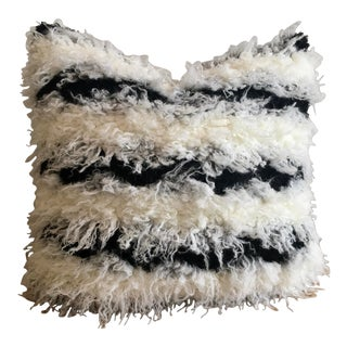 Ivory & Black Faux Shearling Pillow Cover For Sale