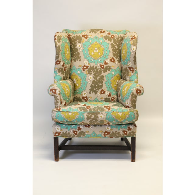 """English Georgian Style Wing Chair in Clarence House """"Suzani"""" Style Fabric For Sale - Image 10 of 10"""