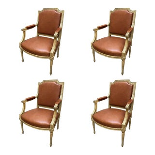 19th Century Louis XVI Style Armchairs - Set of 4 For Sale