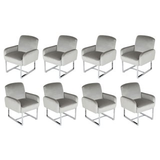 1980's VINTAGE MILO BAUGHMAN FOR THAYER COGGIN DINING CHAIRS- SET OF 8 For Sale