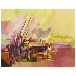 """Amethyst & Yellow Abstract Oil On Canvas Titled """"Everglades"""" For Sale"""