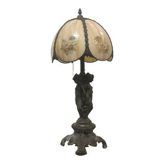 Antique Art Nouveau Bronze Table Lamp For Sale