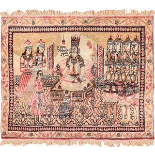 Antique Small Scatter Size Persian Pictorial Kerman Rug - 1′10″ × 2′3″ For Sale