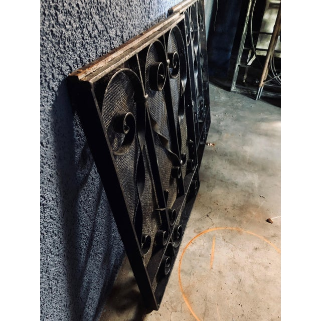 Antique Black Iron Fireplace Screens-A Pair For Sale - Image 4 of 10