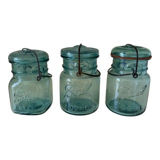Vintage Aqua Ball Jars With Wire Bail and Glass Lid - Set of 3 For Sale
