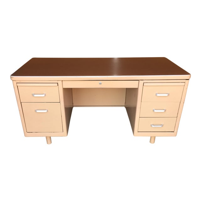 Classic Vintage Tanker Desk with Post Pole Legs For Sale
