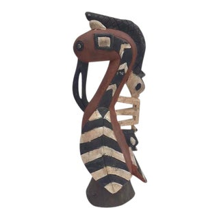 Vintage African Tribal Carved Wood Bird Hornbill Sacred Statue For Sale
