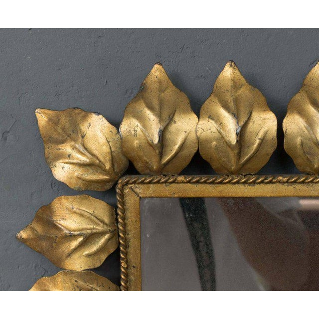 Mediterranean Rectangular Gilt Metal Sunburst Mirror For Sale - Image 3 of 9