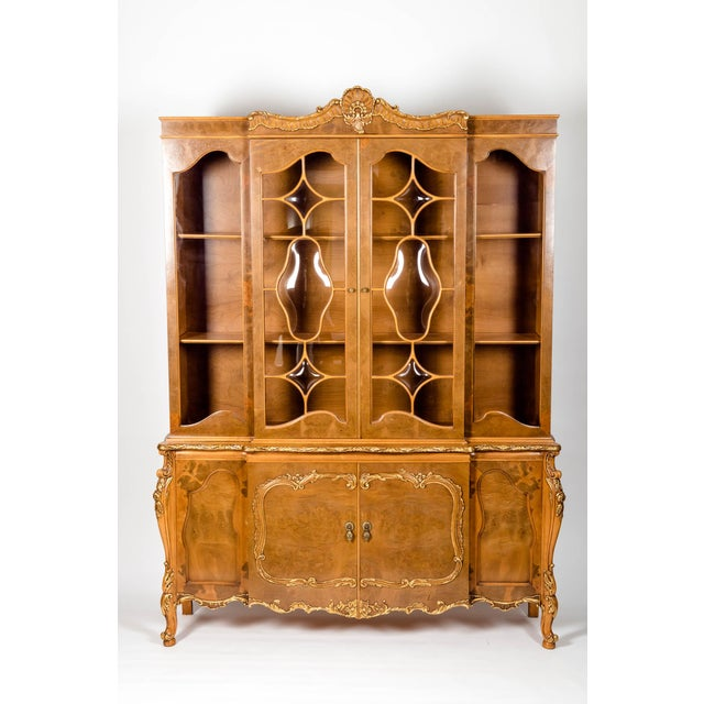 20th Century Two Parts Burlwood Hutch or China Cabinet For Sale - Image 13 of 13