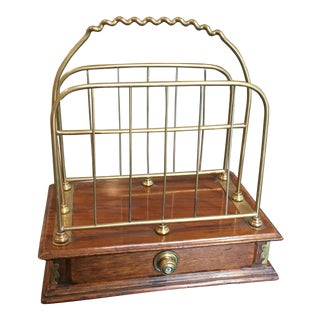 English Oak and Brass Letter Rack With Drawer For Sale