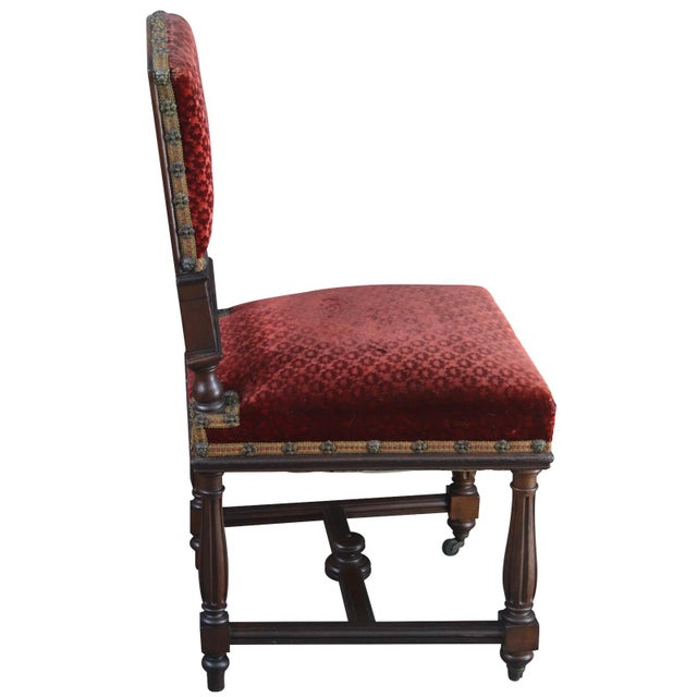 Red Dining Chairs Antique French Renaissance Set 16 For Sale - Image 8 of 9