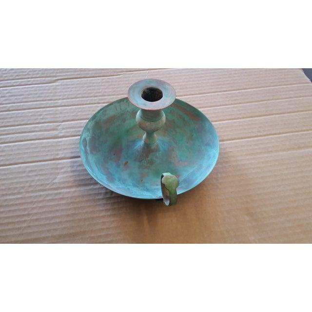 Rustic Vintage Bronze Candle Holder I For Sale - Image 3 of 5