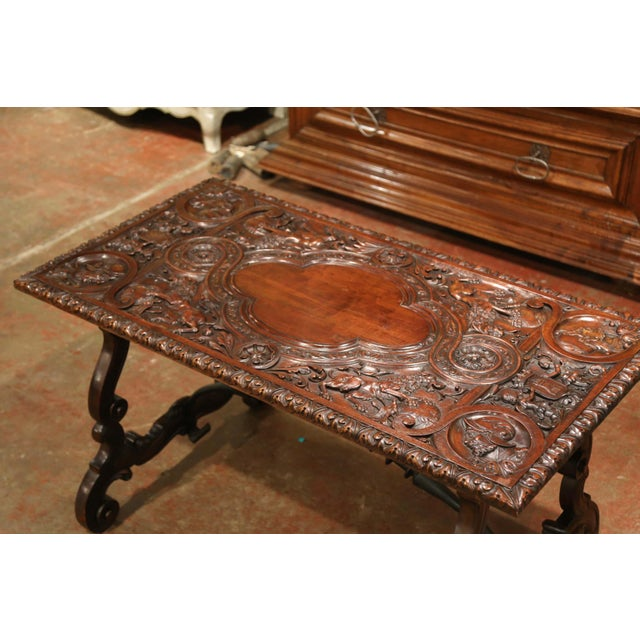 French 19th Century Spanish Carved Walnut and Wrought Iron Console Center Table For Sale - Image 3 of 13