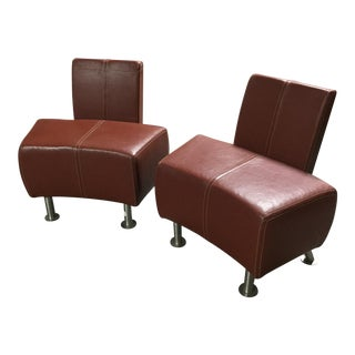 Italian Industrial Leather Chairs- a Pair For Sale