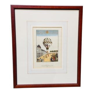Vintage French Hot Air Balloon Print of the Ascent of Madame Blanchard in 1810 at Champ De Mars For Sale