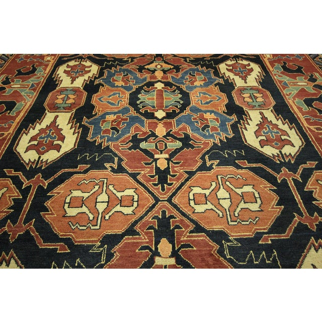"Navy Chobi Hand Knotted Wool Rug - 6'6"" x 9'10"" - Image 9 of 9"