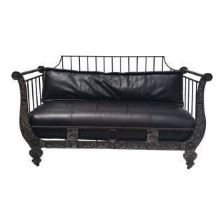 Thomasville Leather Daybed With Metal Frame